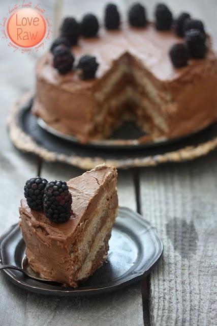 Vegan, Raw Chocolate & Vanilla layered cake. # raw_food, #super_foods, #healthy, #food, #dessert, #cake, #vanilla, #chocolate, #beautiful, #sweet, #tasty, #amazing, #berries, #black_berries, #torte, #birthday, #party, #photography, #photo, #vegan, #baking
