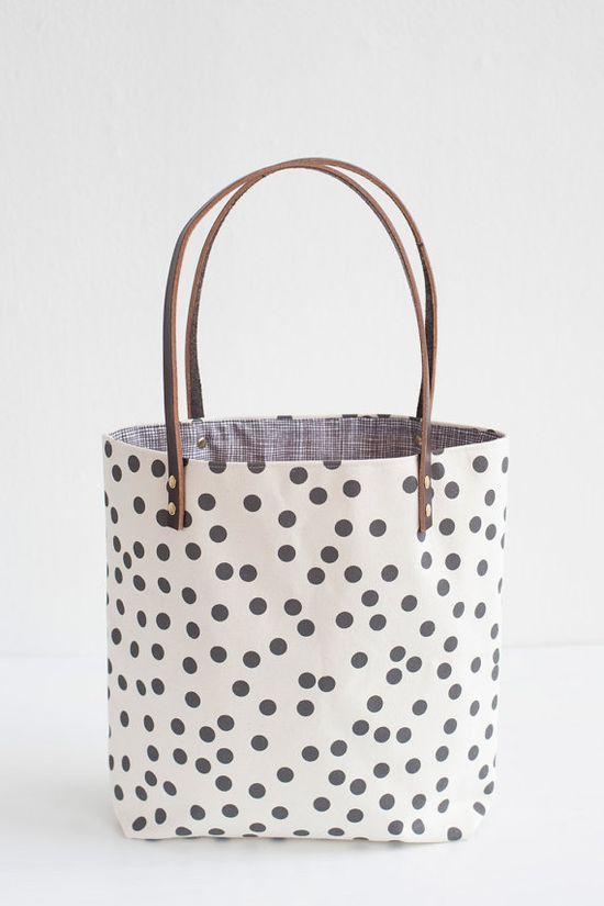 Charcoal Dots Tote Bag Hand Printed Canvas Leather by annajoyce, $87.00
