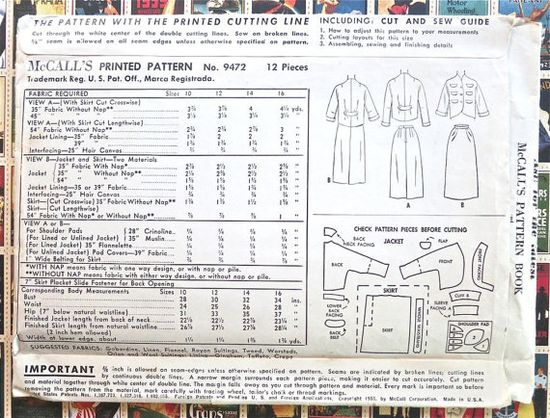 McCalls 9472 Vintage 1950s Womens Suit Dress Pattern by Fragolina