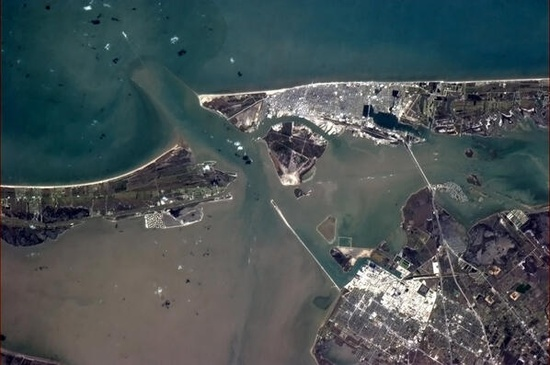 Galvestion, Texas.  By Chris Hadfield on the International Space Station.