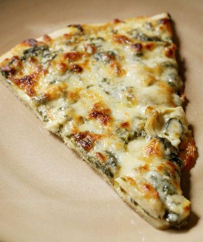 spinach artichoke alfredo pizza.