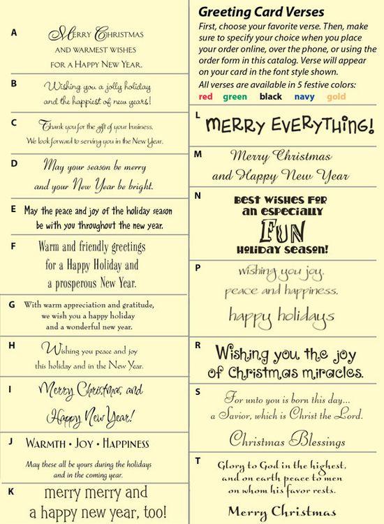 Christmas card sentiments