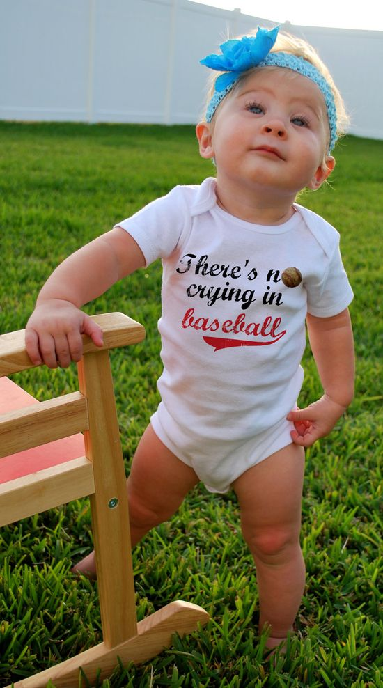 There's NO CRYING in BASEBALL Baby Bodysuits, Tees, Sports, Homerun, Infant, Newborn, Children, Baby Shower, Birthday Party Favor, Toddler. $14.00, via Etsy.