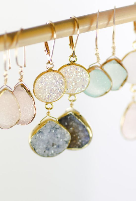 Kalala earrings - druzy gold earrings, grey white drop earring, drusy dangle earring, raw gemstone wedding jewelry bridesmaid earring,hawaii