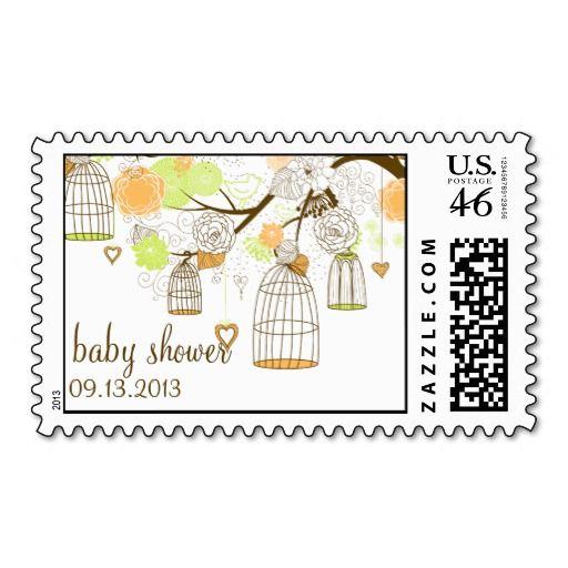 Green & Orange Birdcages Cute Baby Shower Postage