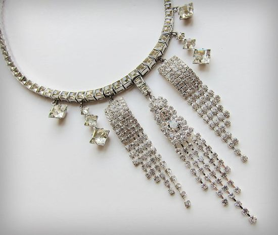 Rhinestones Fall- Recycled Vintage Full of Rhinestones Necklace  from jaspery526 on Etsy