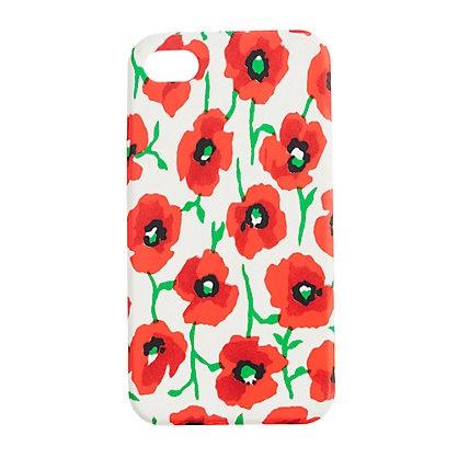 J crew iphone case in cerise coral. Cute poppy print.