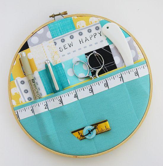 Sewing storage hoop #diy #sewing #supplies #organized #organization