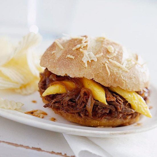 Tangy Barbecue Beef - Sweet mango slices add fresh flavor to smoky beef cooked in beer and barbecue sauce.