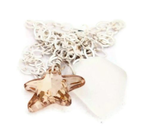 Starfish and sea glass pendant necklace by TurtleXIII on Etsy, $35.00