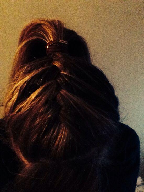 Highlighted hair-French braid ponytail