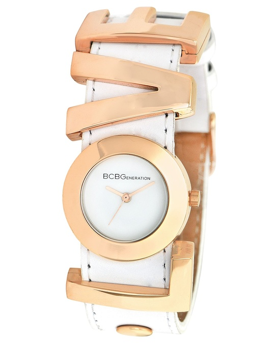 BCBGeneration Watch, Women's Love Charm White Leather Strap 27mm GL4188 - Women's Watches - Jewelry & Watches - Macy's