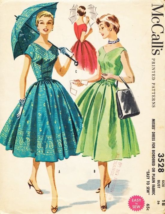 Lovely warm weather short sleeve 1950s dresses - McCalls 3258. #vintage #1950s #sewing #patterns #dress