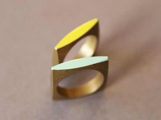 Neon Geometric Square Ring by cyclicalind on Etsy, $18.00
