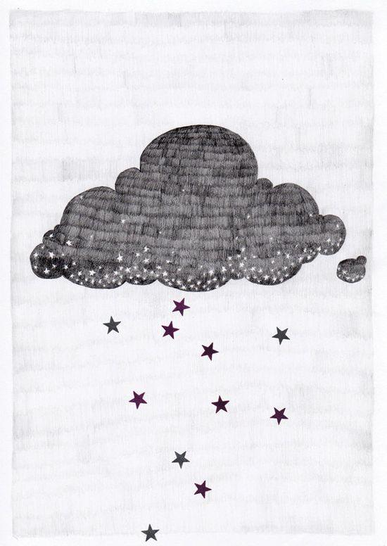 Stargazer cloud A3 print