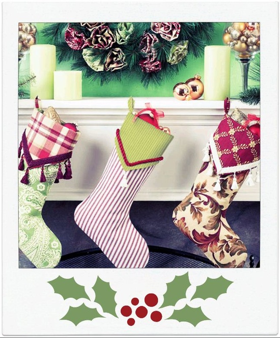 Home Decor #wreath & fabric stockings! #DIY #holiday