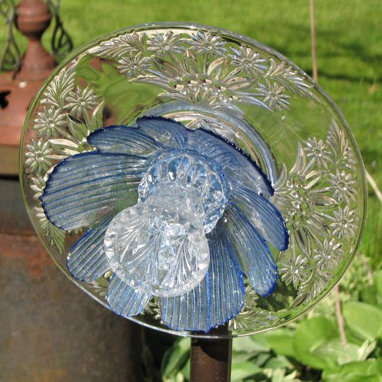 Upcycled Glass Flower Garden Sculpture - Clear and Blue. $22.00, via Etsy.