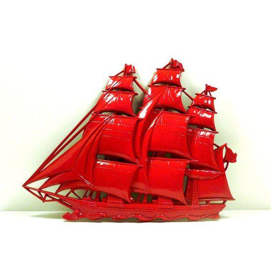 red ship, nautical home decor, upcycled, wall art, unique, wall decor, ships, boats, pirates, pirate ship, antique ship. $28.00, via Etsy.