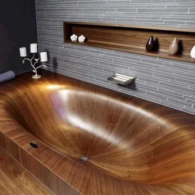 Stunning wooden bath #bathrooms