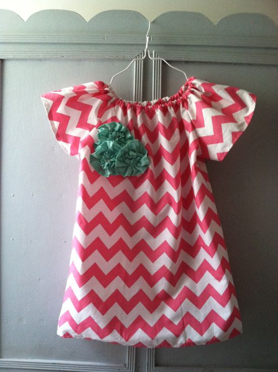Custom Girl's Size 6 Month - 3T Pink Chevron Short Sleeve Dress with Floral Embellishments on Etsy, $22.50