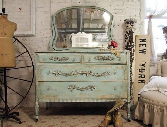 Shabby Aqua Romantic Dresser