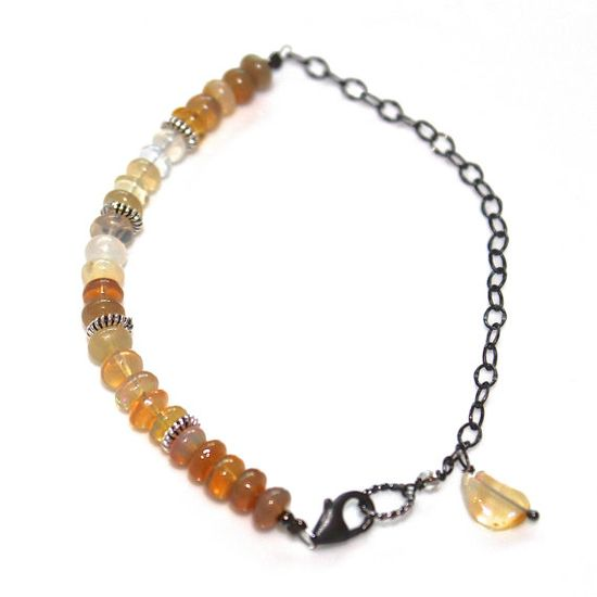 Ombre Ethiopian Opal Charm Bracelet Oxidized Silver #bracelet #fizzcandy #ombre #silver #opal #jewelry