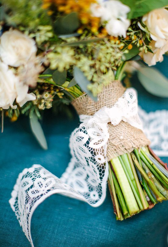 Burlap and lace. Van Gogh Inspired Shoot. Photography by birdsofafeatherph..., Event Design + Planning by orangeblossomspec..., Floral Design by peonyandplum.com, Read more - www.stylemepretty...
