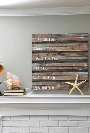 salvaged wood boards used for fireplace wall decorating