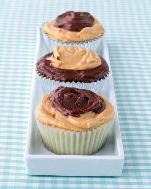 Peanut-Butter and Chocolate Frosted Cupcakes - and this is what my heaven tastes like.