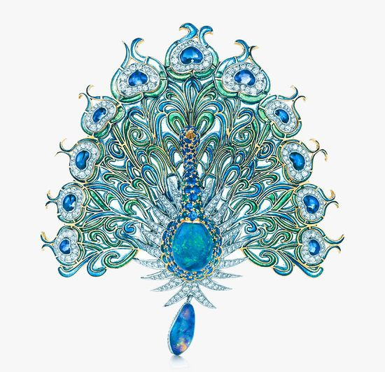 This glorious peacock brooch with diamonds, sapphires, emeralds and black opals was inspired by a design from the Tiffany Archives. Tiffany craftsmen created it using plique á jour, an enameling technique that allows light to shine through the enamel creating a stained-glass window effect. [Is it more impressive than the Graff one???]