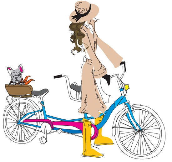 Bicycle Built for Two Illustration Print. $20.00