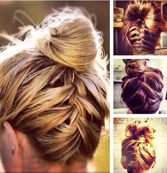 Love this bun and French braid!
