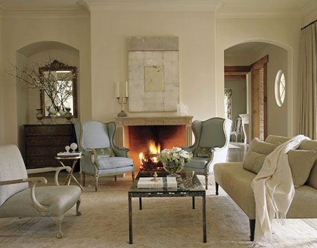 Bisque and icy blue room by Suzanne Kasler in House Beautiful. Photo by Frances Janisch.