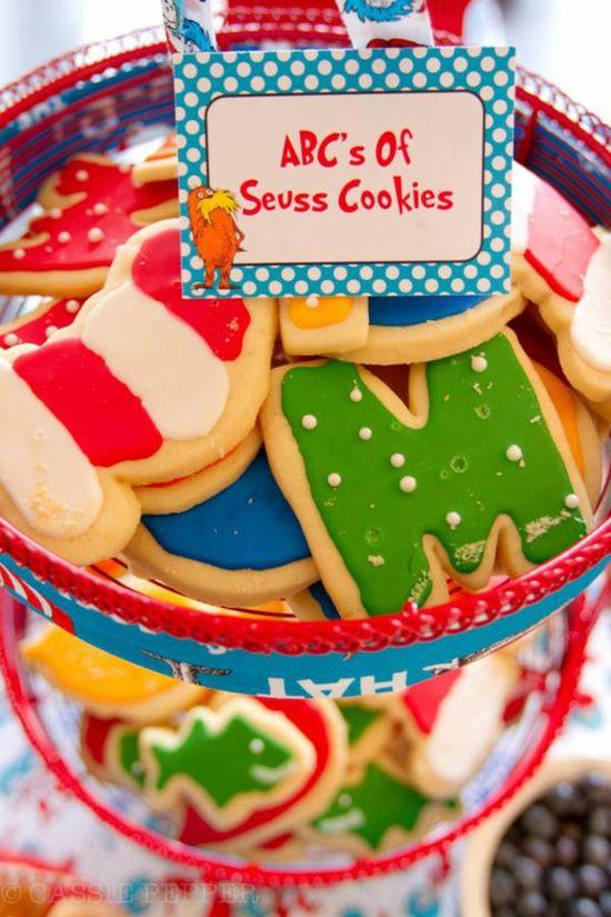Dr Seuss Themed Birthday Party via Kara's Party Ideas KarasPartyIdeas.com #dr #seuss #party #supplies #ideas #birthday #cookies