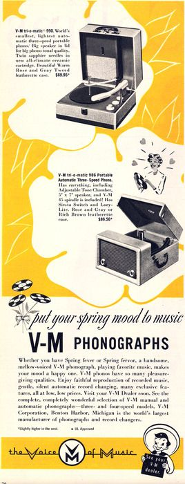 Put your spring mood to music with V-M phonographs, 1954. #vintage #1950s #ads
