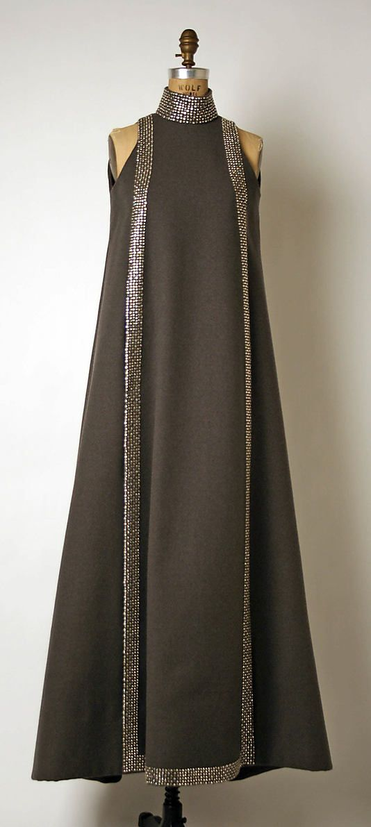 Evening ensemble, Geoffrey Beene,  1967. Wool, leather and metal.