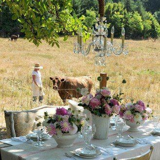 Birthday table lunch in fields...........bliss