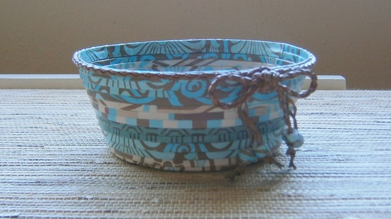 Handmade Paper Basket - Teal/Brown, Small.