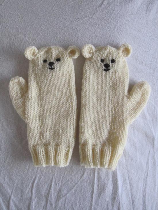 Polar bear mittens  very soft pure wool