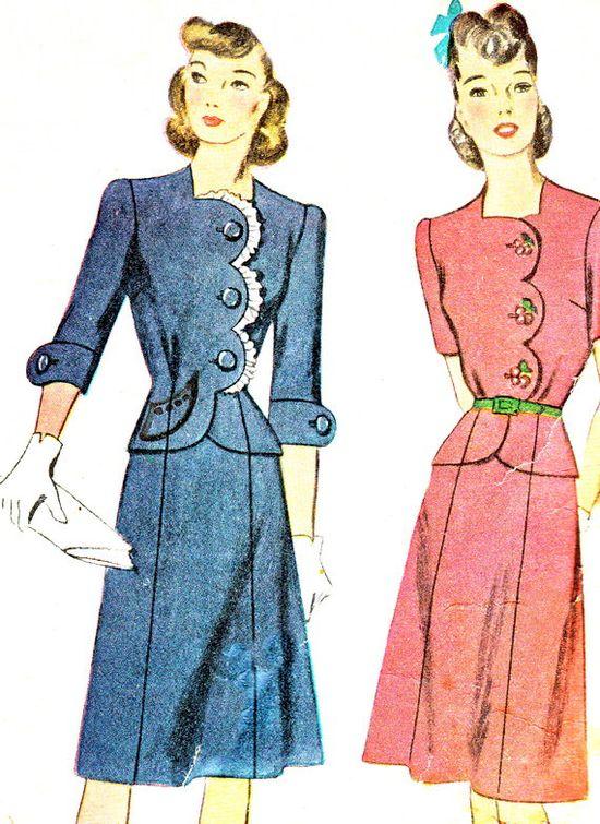 1940s Dress Pattern Simplicity 4701 Two Piece Dress by paneenjerez, $20.00