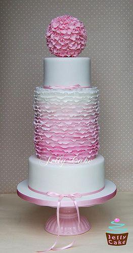 Petal perfection. Dusky Pink Ombre Ruffles Wedding Cake
