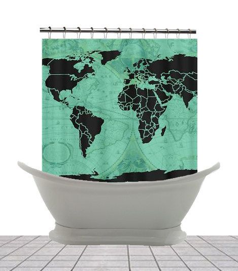 "Shower Curtain - ""Paradigm of Time"" Vintage vs Modern Map - Home Decor - Bathroom - maps"