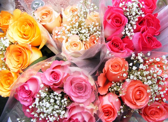 Bouquets of colorful roses