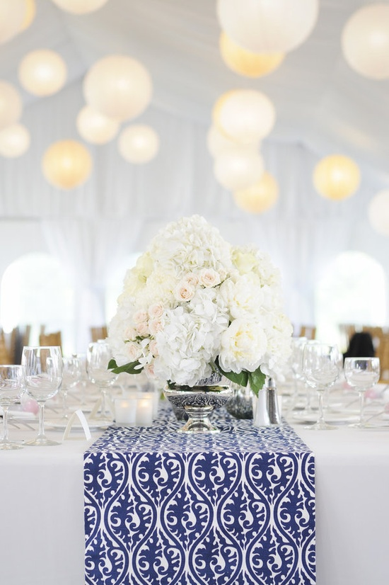 Navy & white patterned table runners with cream and bright white