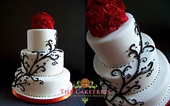 Black , white and Red wedding cake    www.Thecaketress.ca