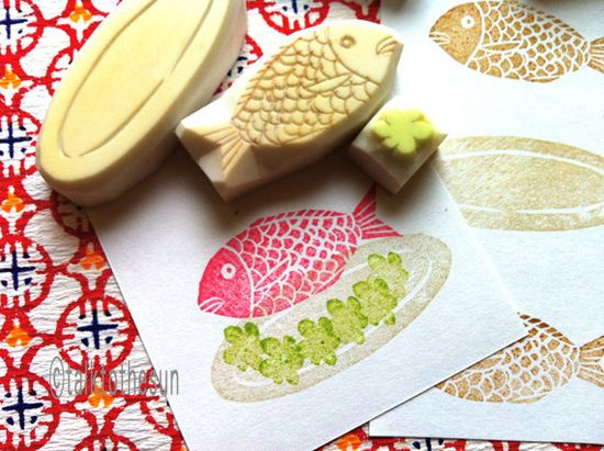 fish platter   hand carved rubber stamps  handmade by talktothesun