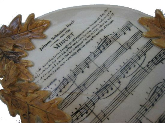 My handmade music platter with autumn leaves