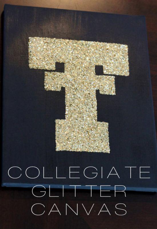 {DIY} Collegiate Glitter Canvas - LOVE