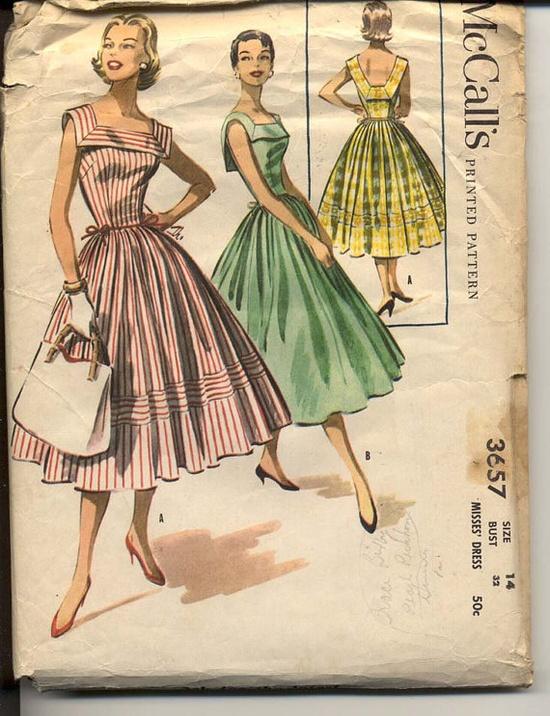 1950s Dress Pattern McCalls 3657