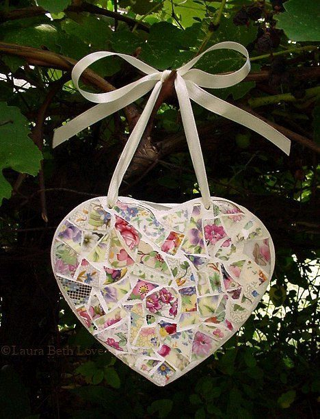 Pink Floral Mosaic Heart